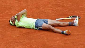 Spain's Rafael Nadal celebrates his record 12th French Open tennis tournament title